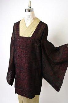 赤黒ゼブラストライプモダンな紗の薄コート