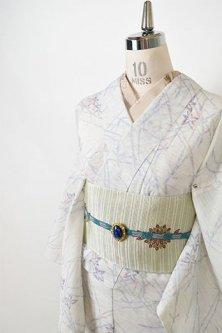 象牙色地に敷松葉と楓の葉涼やかに美しい夏紬風スリーウェイ夏着物