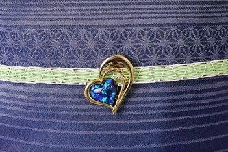 正絹夏帯締めと夜空色ハートのクリップ帯留セット(スプリンググリーン)