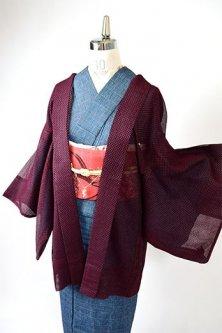 バーガンディルージュの立涌縞レース風ストライプ透かし織りモダンな薄羽織