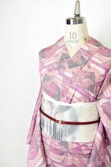オーキッドローズ木版染のようなアール・ヌーヴォーモダンデザイン美しい正絹縮緬袷着物