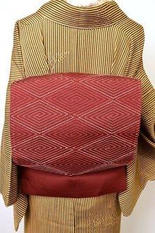 栗梅茶に相良刺繍稲妻菱小粋な洒落袋帯