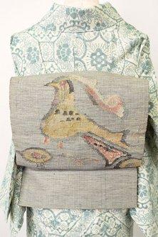 グレーにフォークロア鳥文様モダンな正絹紬開き名古屋帯