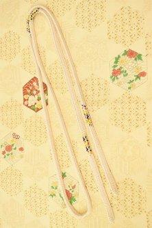 帯締めと昔着物の柄帯揚げ・半衿セット(薄香色亀甲雅)