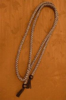 帯締めと昔着物の柄帯揚げ・半衿セット(香染茶に鹿の子)