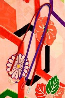 帯締めと昔着物の柄帯揚げ・半衿セット(大正ロマン紅と紫)