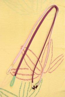 帯締めと昔着物の柄帯揚げ・半衿セット(絞り笹の葉)