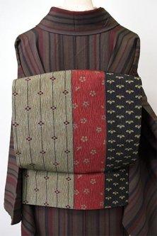花かざり古典縞文様美しいリバーシブル化繊京袋帯