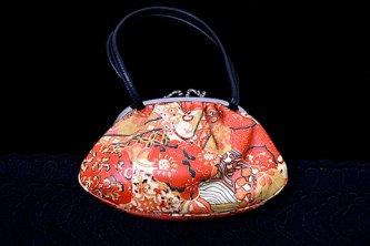 珊瑚色更紗革染美しいビンテージがま口バッグ