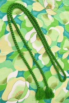 帯締めと昔着物の柄帯揚げ・半衿セット(グリーン・カメリア)