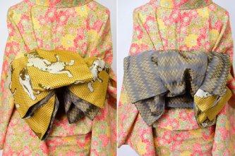 編みかご格子に猫が遊ぶ半幅帯(芥子色)