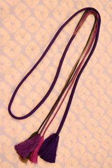 帯締めと昔着物の柄帯揚げ・半衿セット(紫薫蜘蛛絞り)