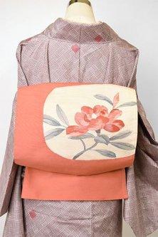 コーラルピンクに花枝美しい正絹洒落袋帯