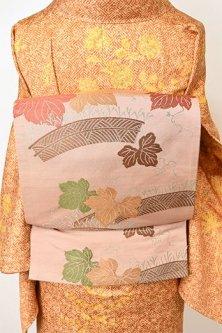 白茶色地に柴垣と蔦葉文様美しい京袋帯