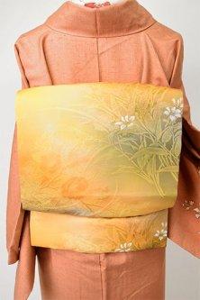 織りと染の草花重ねロマンチックな名古屋帯