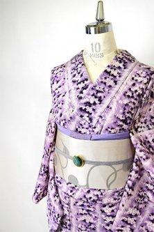 ラベンダーモーヴの花束ストライプモダンな正絹袷着物
