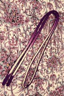 帯締めと昔着物の柄帯揚げ・半衿セット(ヴィクトリアンアラベスク・パープルグラデーション)