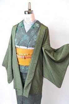 スモークグリーンゆらぎ麻の葉とティアドロップドット美しいレトロ羽織