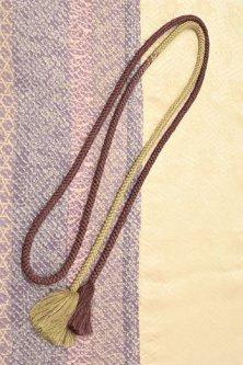 帯締めと昔着物の柄帯揚げ・半衿セット(藤ぼかし小紋つなぎ縞)