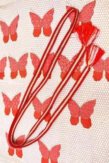 帯締めと昔着物の柄帯揚げ・半衿セット(緋色蝶々)