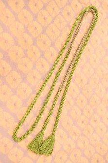 帯締めと昔着物の柄帯揚げ・半衿セット(紫薫蜘蛛絞りに若草緑)