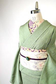 パウダリーグリーンに墨流し染めマーブル模様美しい付下げ着物