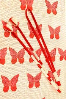 帯締めと昔着物の柄帯揚げ・半衿セット(緋色蝶々紅白縞)