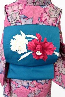 スモークターコイズブルーにオーキッドフラワー美しい正絹塩瀬名古屋帯