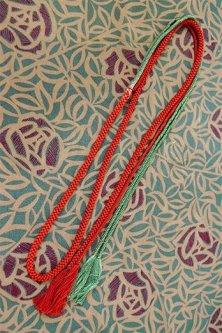 帯締めと昔着物の柄帯揚げ・半衿セット(アールデコ・ローズ)