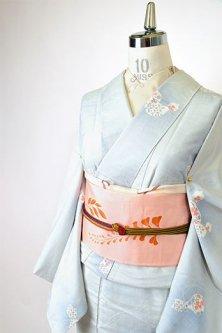 鼠青色に瓢箪文様美しく浮かぶ正絹紬袷着物