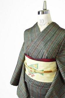 フォレストグリーンストライプ美しい正絹紬袷着物