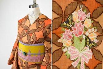 七宝オレンジに花と蝶のボヘミアン刺繍美しいウール単着物