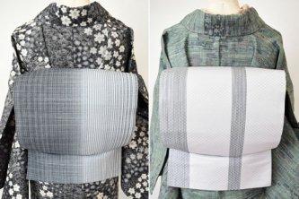 モノクローム絣縞モダンな友禅紬染め両面柄洒落袋帯