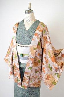 パズルのような木の葉のデザインモダンなレトロ羽織