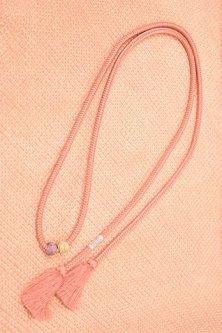 帯締めと昔着物の柄帯揚げ・半衿セット(桜と藤鼠の淡雪鹿の子)