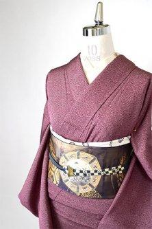 葡萄染紫に家内安全文様小粋な江戸小紋袷着物