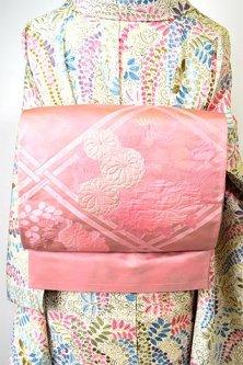 スモークパウダリーピンクに花格子美しい洒落袋帯