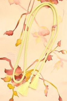 帯締めと昔着物の柄帯揚げ・半衿セット(セピアローズ・ブロッサム・ライムグリーン)