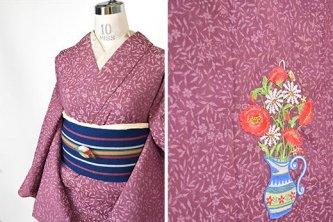 オールドローズピンクに雛芥子の花瓶ボヘミアン刺繍美しいウール単着物