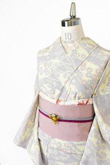 霞花枝美しい塩沢風ウール化繊混単着物