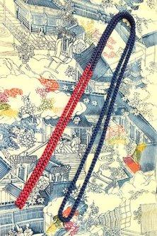 帯締めと昔着物の柄帯揚げ・半衿セット(薄暮景平安絵巻)