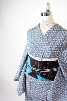 青と白の青海波文様美しい正絹縮緬付け下げ小紋