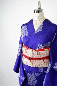 青紫にレース飾りのような花アラベスク美しいアンティーク銘仙袷着物