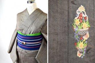 アッシュブラウンにボヘミアン刺繍美しいウール単着物