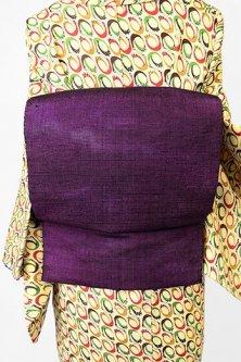 紫にアラベスク幻想的に浮かぶ紬つくり帯