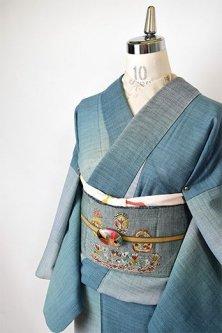 青碧色ぼかし斜め縞美しいサマーウールの単着物