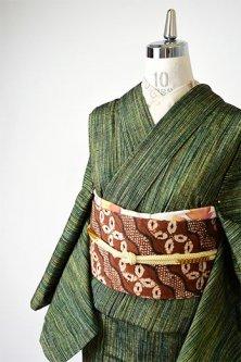 翠雨のような緑のストライプ美しい正絹紬単着物