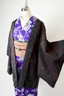黒と紅の楓透かし紋紗に楓の染模様美しい紗袷のレトロ羽織