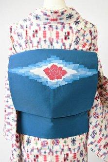 スモークブルー薔薇の花とモザイクタイルダイヤモンド美しい名古屋帯