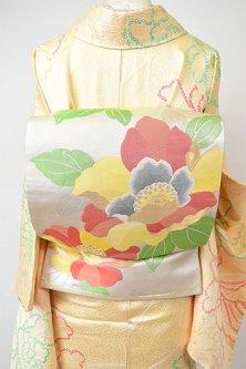 銀地に牡丹のようなカラフルフラワー美しい袋帯